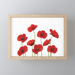 Poppies Field white background Framed Mini Art Print