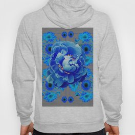 Baby Blue & Charcoal Grey Floral  Abstract Art Hoody