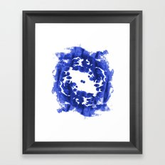 Blue Circle abstract painting enso minimal modern home office dorm college decor Framed Art Print