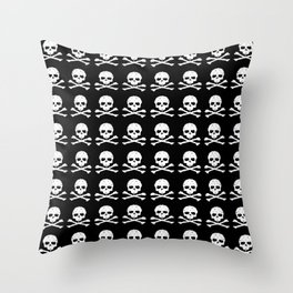 Skull and XBones in Black and White Throw Pillow