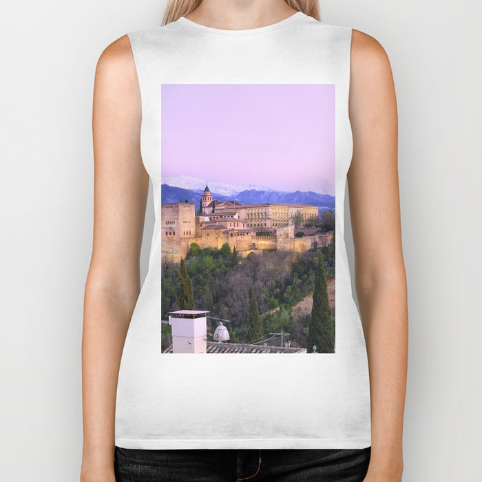 La Alhambra, Sierra Nevada and Granada. At pink sunset Biker Tank