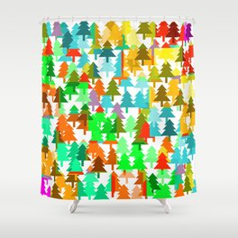Colorful fir pattern Shower Curtain
