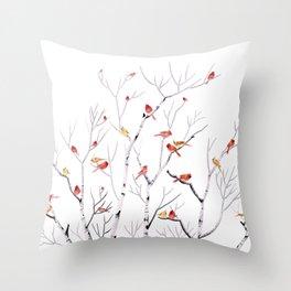 Birch Trees and Cardinal 2  Throw Pillow