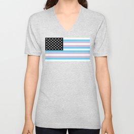 Transgender American Flag Unisex V-Neck