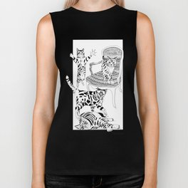 Cats with a chair - Ink artwork Biker Tank
