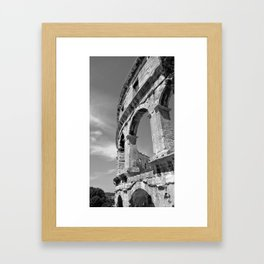 arena amphitheatre pula croatia ancient high black white Framed Art Print