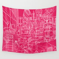 hot pink Wall Tapestries featuring London! Hot Pink by David Bushell
