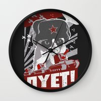 soviet Wall Clocks featuring grumpy soviet by tshirtsz