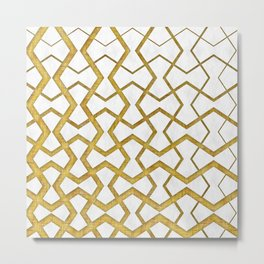 Gold Under Marble Tiles Metal Print