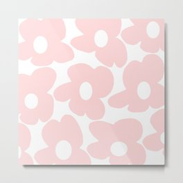Large Baby Pink Retro Flowers on White Background #decor #society6 #buyart Metal Print