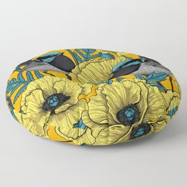 Fairy wren and poppies in yellow Floor Pillow