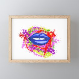Blue Lips Framed Mini Art Print