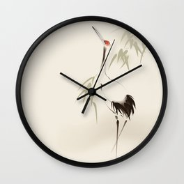 Oriental Red-Crowned Crane 001 Wall Clock