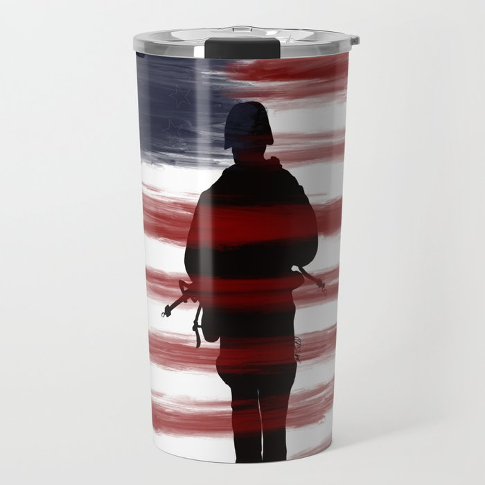 Soldier and Flag - Patriotic Travel Mug