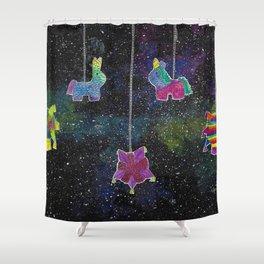 Galactic Posada Piñatas Shower Curtain