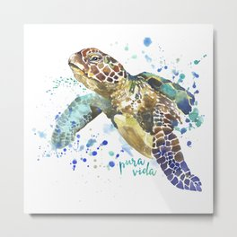 Sea Turtle Pura Vida Watercolor Metal Print