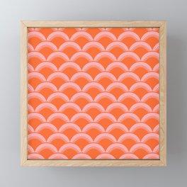 Japanese Fan Pattern 142 Pink and Orange Framed Mini Art Print