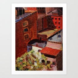 Classical African American Landscape 'Over the Harlem Rooftops' by Malvin Gray Johnson Art Print