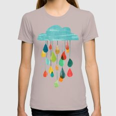 cloudy with a chance of rainbow Womens Fitted Tee Cinder X-LARGE