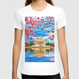 Spring Japanese Cherry Blossoms at the Jefferson Memorial Landscape by Jeanpaul Ferro T-shirt