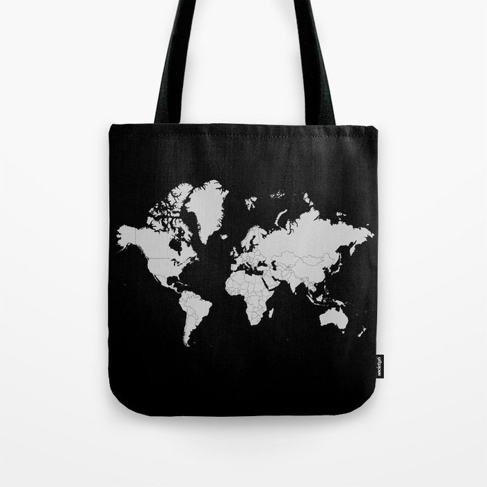 Minimalist World Map Gray on Black Background Tote Bag