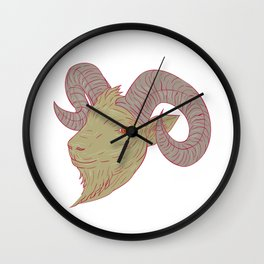 Mountain Goat Ram Head Drawing Wall Clock