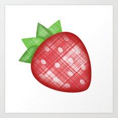 Strawberry Emoji in plaid Art Print