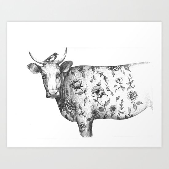 The Bird and the tattooed Cow Art Print