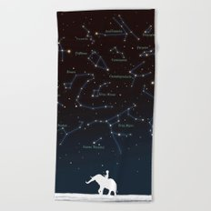 Falling star constellation Beach Towel