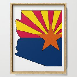 Arizona Map with Arizonan Flag Serving Tray