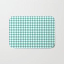 Modern green white checker picnic stripes pattern Bath Mat
