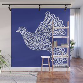 Peace, Dove, White on Blue Wall Mural