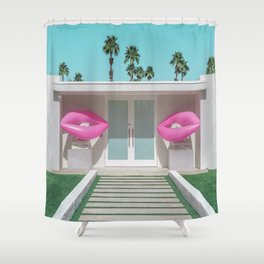 Modern Palm Springs Home with Pink Lip Floaties at the Door Shower Curtain