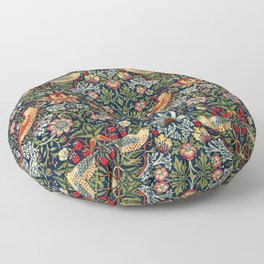 Strawberry Thief by William Morris 1883, Weave Cotton, Vintage Pattern CC0 Spring Summer Floor Pillow