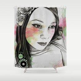 Treasure (young cute girl, magnolia & mandalas) Shower Curtain