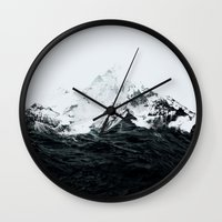 mountains Wall Clocks featuring Those waves were like mountains by Robert Farkas