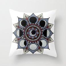 Moon Phase Mandala Throw Pillow