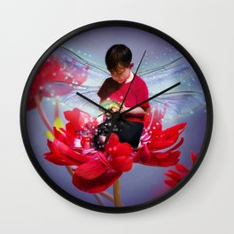 Red Bug Fairy Wall Clock