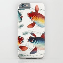Chinese painting featuring two gold and two silver fish (ca1800-1899) from the Miriam and Ira D Wall iPhone Case