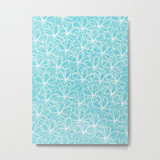 Aqua & White Floral Doodles Metal Print