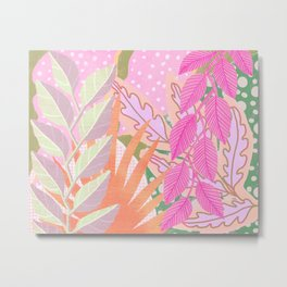 Modern Jungle Plants - Pink Green Purple Metal Print