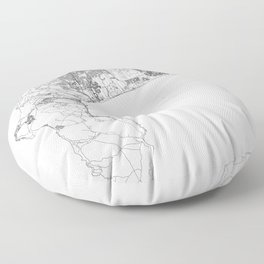 Cape Town White Map Floor Pillow