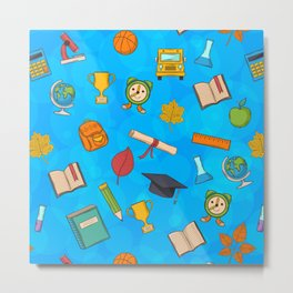 Back to school on blue background Metal Print