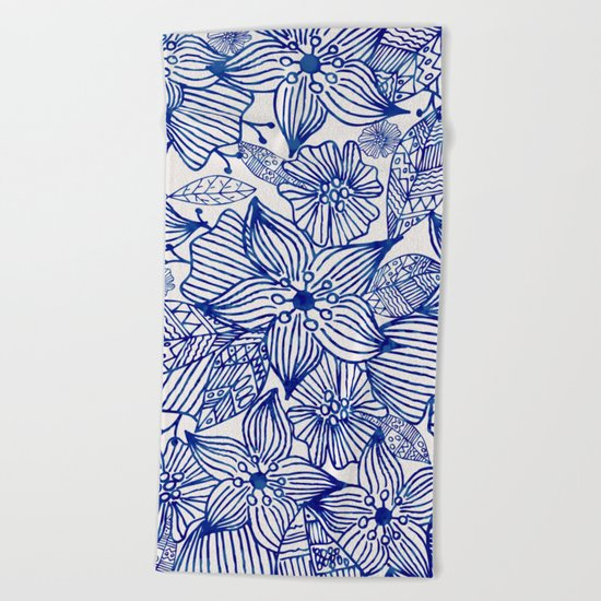 Hand painted royal blue white watercolor floral illustration Beach Towel