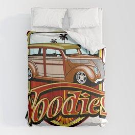 retro woodie car tee Comforters