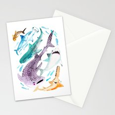Help Stop Shark Finning - Watercolor Ocean Animals - Fish Stationery Cards