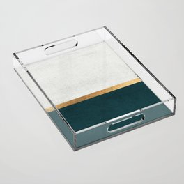 Deep Green, Gold and White Color Block Acrylic Tray