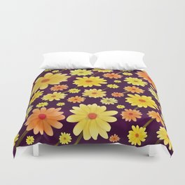 Yellow dots, Yellow Flower, Floral Pattern, Yellow Blossom Duvet Cover