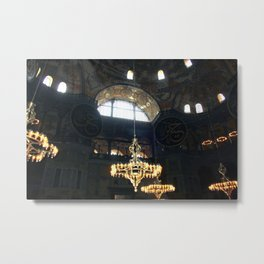 Hagia Sophia Decorated Dome and Ottoman Chandeliers Metal Print