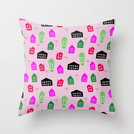 Abstract pink black green hand painted geometrical pattern Throw Pillow